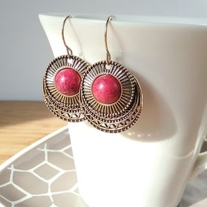 Red & Bronze Gold Round Egyptian Dangle Earrings